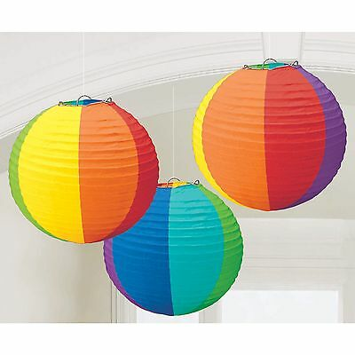 RAINBOW COLOURED PAPER ROUND LANTERNS PACK OF 3 PARTY SUPPLIES DECORATIONS