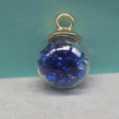 5Pcs Boule De Verre Arc en ciel Cristal Flottant Charms Pendentifs Collier perles cristal