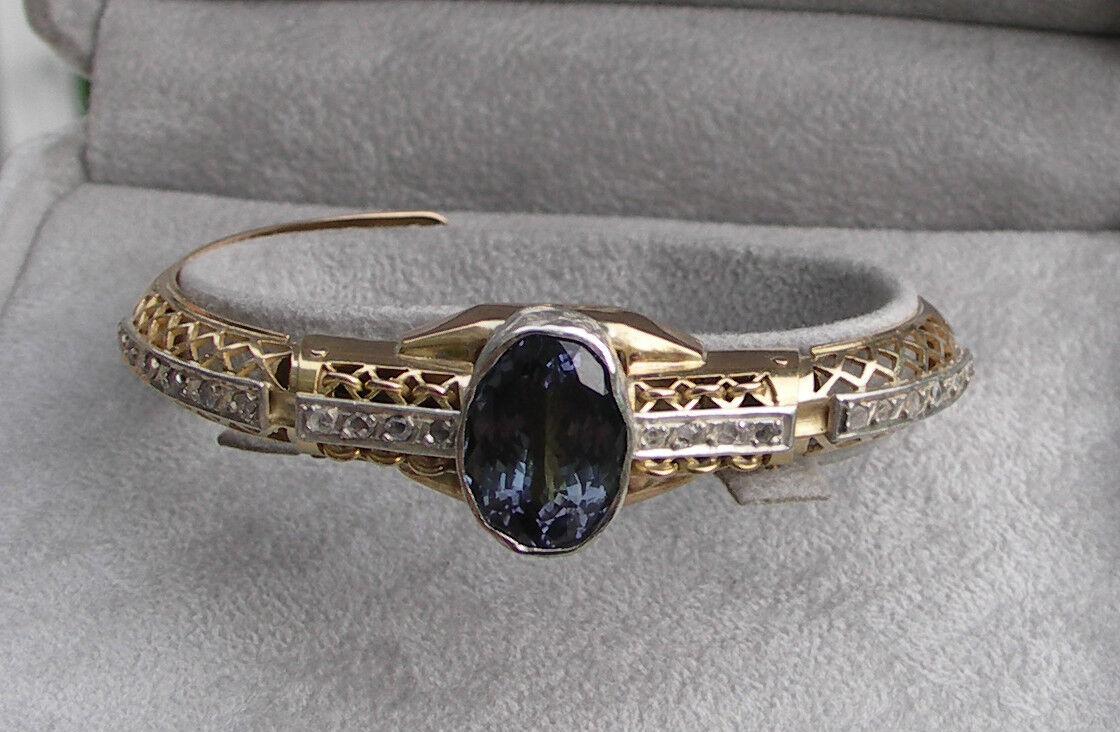 Huge Natural Flawless 10.26 carat Tanzanite & 1+ carat Diamond 18k gold bracelet