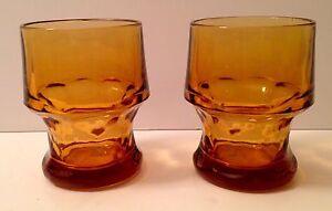 Set of 2 Vintage Libbey Amber Glass Georgian Beverage Glasses/Tumblers