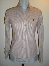 Juicy Couture Womens Pinstripe Brown White Shirt Long Sleeved Career XS Size P