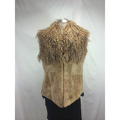 FREE SHIPPING ELEGANT BIEGE SHEARED BEAVER LAMB FUR VEST WITH LONG HAIR WOOLTOP