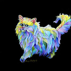 THE-PRiMa-DoNA-Persian-Cat-12x12-Original-Art-on-stretched-canvas-Sherry-Shipley