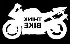 Pensate BICI smettere di pensare Bici Moto Adesivo Decalcomania Grafica Vinile Bianco REV V2