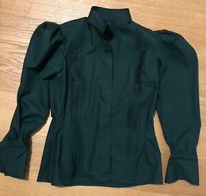 Victorian style floral Women girls  blouse long sleeve high collar front closure historical costume size 4-30