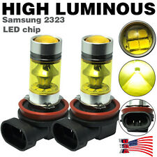 2pcs Yellow H11 H8 Fog Light SAMSUNG 2323 LED 100W Driving Bulb DRL High-Power