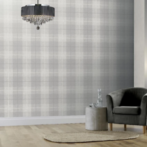Country Grey Tartan Wallpaper Heavy Textured Vinyl by Arthouse 294901