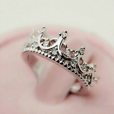 Fashion Princess Silver plated Rhinestone Crown Ring US Size 5 6 7 8 New