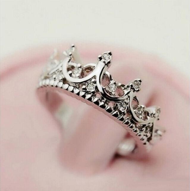 Fashion Princess 925 Sterling Silver Rhinestone Crown Ring US Size 5 6 7 8 New