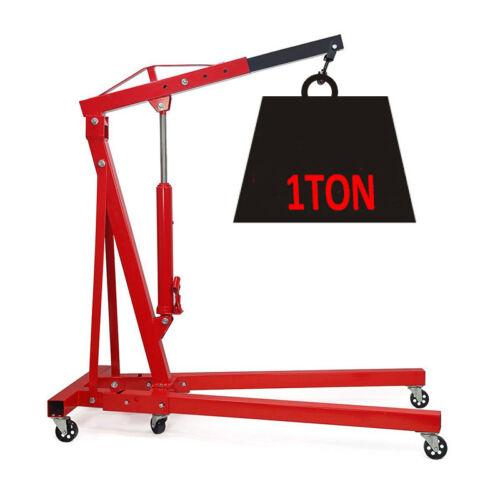 1 Ton Tonne Hydraulic Folding Engine Crane Jack Stand Hoist Lift Garage Workshop