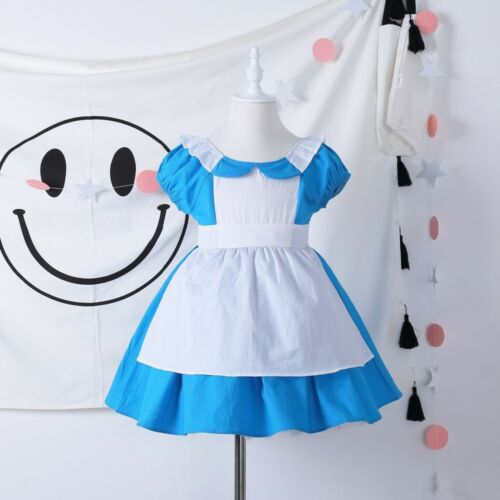 Kid Girl Alice In Wonderland Costume Dress Halloween Children Cosplay Costume