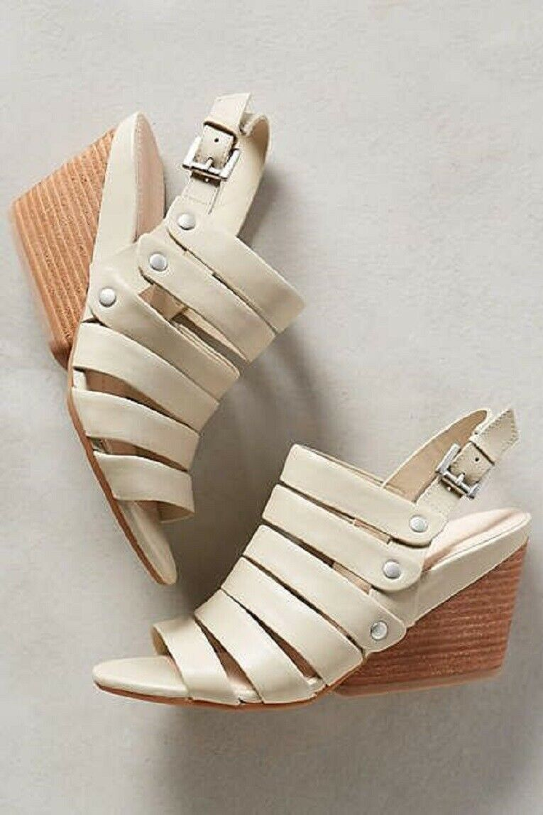 NAYA LASSIE WEDGES ANTHROPOLOGIE SHOES LT TAUPE LEATHER SLINGBACK SANDAL NEW 7.5