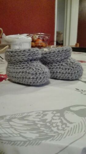 crochet girls boys newborn reborn booties gray