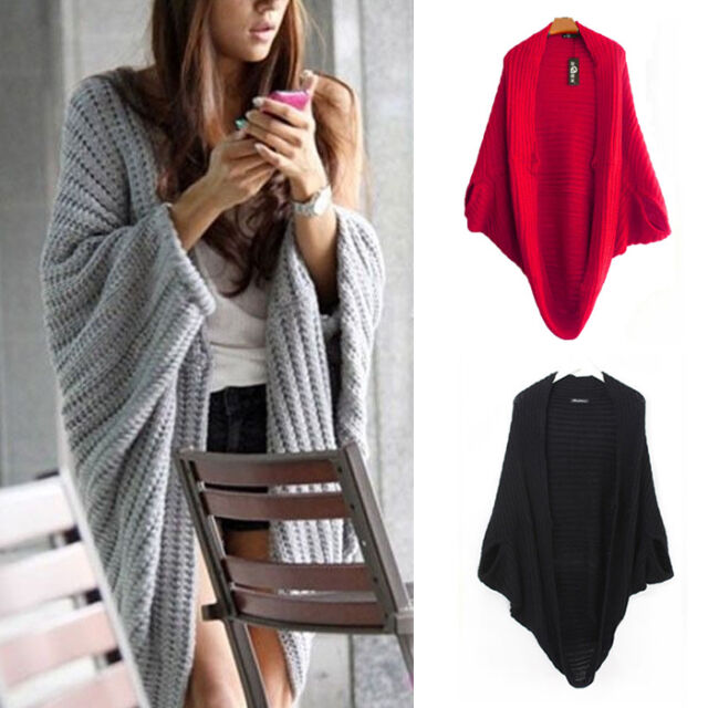 Top Women Batwing Casual Loose Sweater Coat Knitting Long Cardigan Shawl Outwear