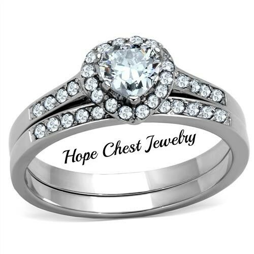 WOMEN'S STAINLESS STEEL 0.50 CT HALO HEART CZ BRIDAL WEDDING RING SET SIZE 5 -10