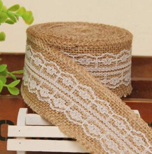 Natural jute Tissé Bord de Hesse jute Lace Trim Ribbon Craft Mariage Art Floral