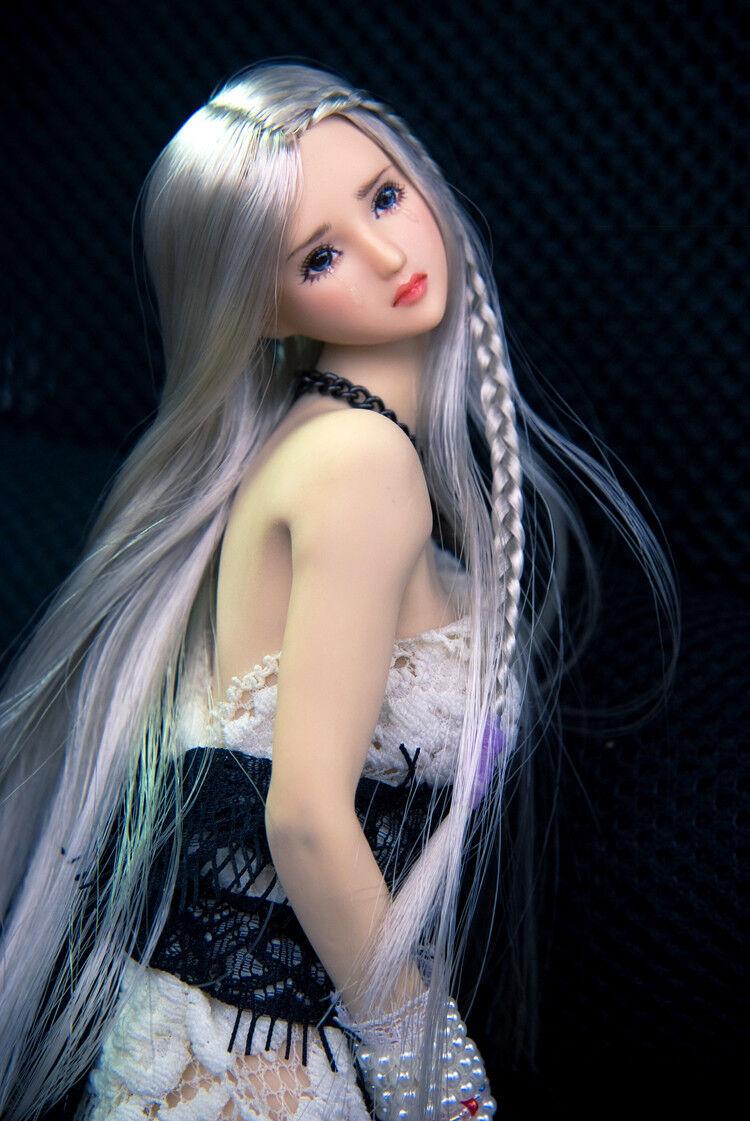 1 6 Female Head Sliver Straight Hair bluee Eyes  Fit 12  JODOLL OB Phicen Figures