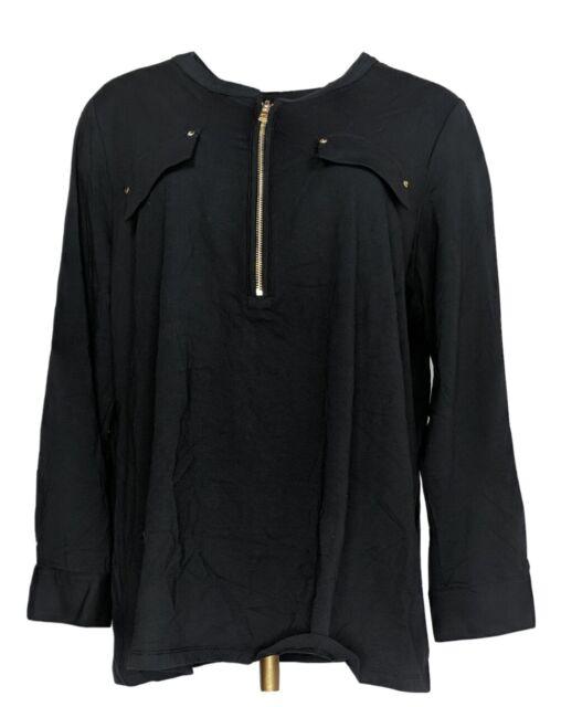 Belle by Kim Gravel Women's Plus Sz Top 1X Long Sleeve Utility Black A296593