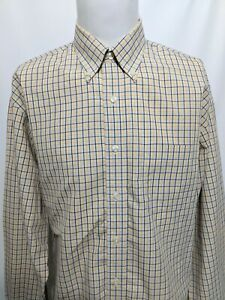 Brooks-Brothers-346-Yellow-Blue-Check-Long-Sleeve-Shirt-Mens-Size-Large