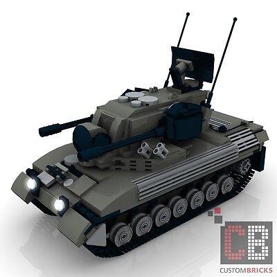 CUSTOM PDF Bauanleitung Bundeswehr Gepard 1A2 grau Flak Panzer für LEGO® Steine
