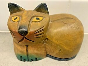 Vintage-Hand-Painted-Carved-Folk-Art-Cat-Kitten-Wood-Statue-Wooden-Figurine-FFS