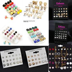 Women-Fashion-Earrings-set-Elegant-Pearl-Crystal-Rhinestone-Ear-Studs-Jewelry