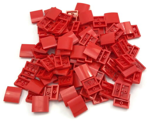 Lego New Lot of 100 New Red Slopes Sloped Curved 2 x 2 No Studs Pieces