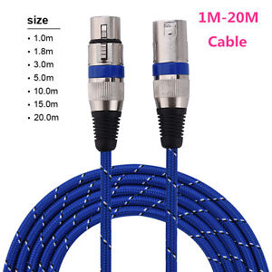 1-20M-XLR-Male-to-Female-3-Pin-MIC-Extension-Cable-Microphone-Audio-Cable-Cord