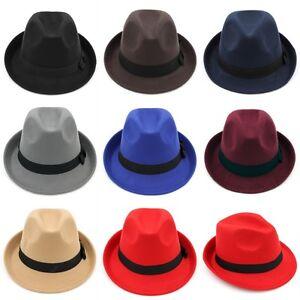 b63bb3dd1 Details about Fashion Kids Boys Girls Felt Fedora Cap Trilby Hat Children  Wool Blend Jazz Cap
