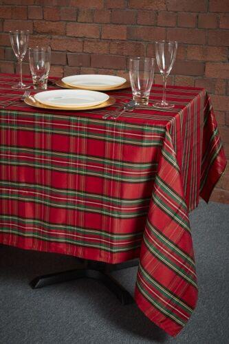 HALF PRICE TARTAN CHECK ROUND TABLE CLOTH  DINNER PARTY FESTIVE CHRISTMAS XMAS
