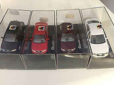 4 verschiedene Skoda Modelle 1:43 Kaden 3x Fabia, 1x Superb, Kaufpreis 126 Mark