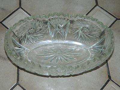 Frank Groß Schwer Schleuderstern Glas/kristall Schale Oval Sehr Gut Alt Antik Dm27 H11 Hochglanzpoliert