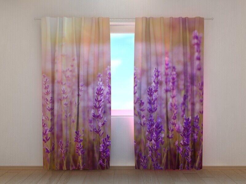 Fotogardine Lavendel Blaumen Vorhang mit Foto Gardine mit Foto Maßanfertigung