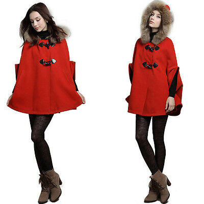 Oversize Hooded Poncho Cape Womens Coat Winter Warm Faux Fur Collar Jacket Cloak
