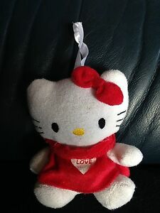 Helllo-Kitty-Sanrio-Plueschtier-weiss-rotes-Kleid-Love-14-x-11-cm
