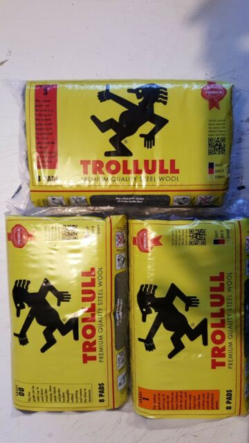 Trollull Premium Quality Steel Wool 8 Pad Pack - Medium Grade 1 Woodworking