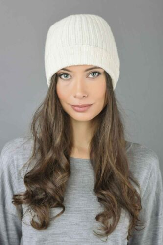 Beanie Hat Fisherman 100/% Pure Cashmere Watchcap Ribbed  Cream White MADE IN ITA