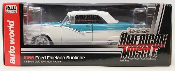 1956 Ford Sunliner Converdeible bianca - blu 1 18 Auto World 973