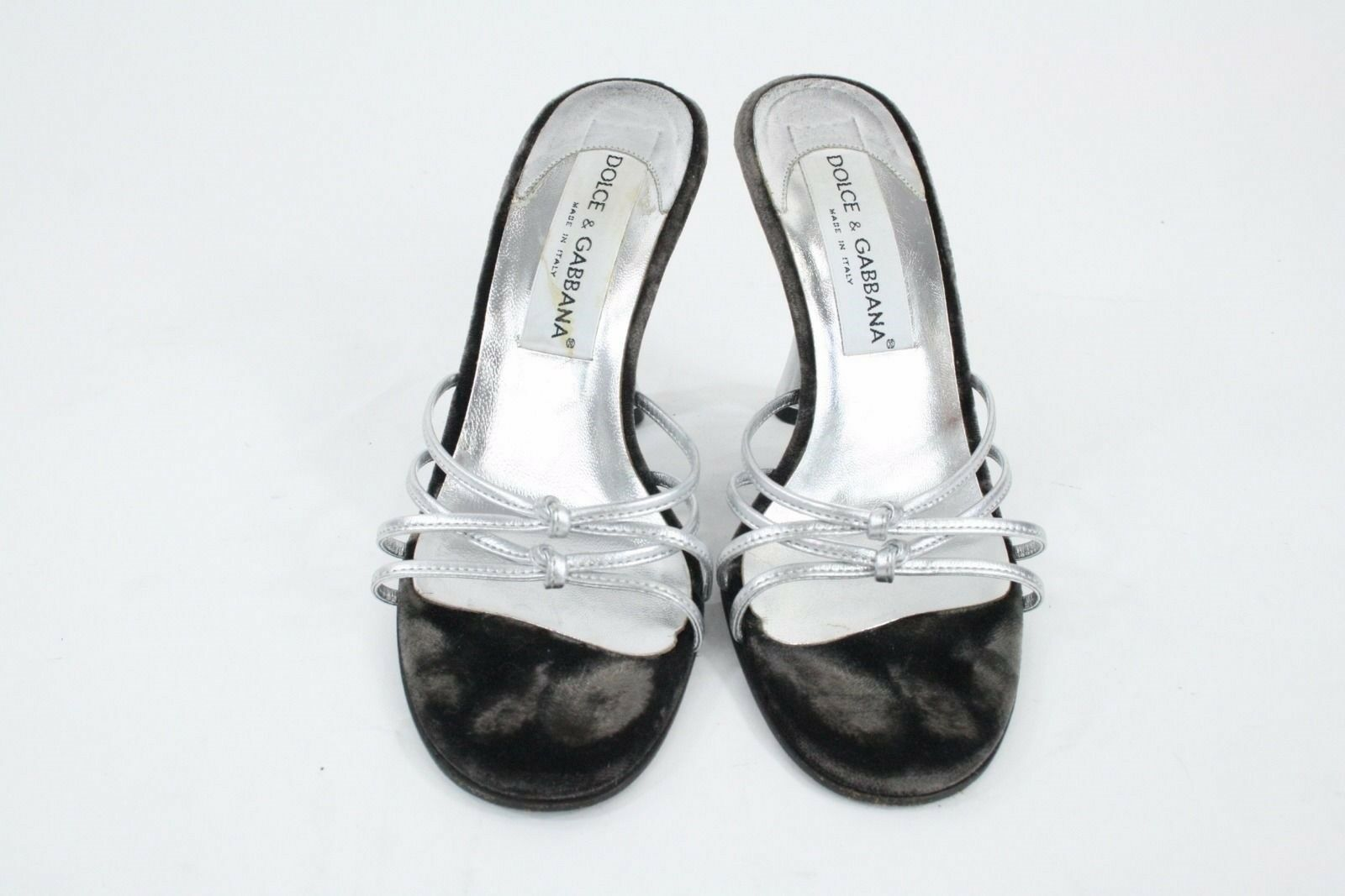 Dolce & Stiletto Gabbanna Silver Leder Strappy Front Backless Stiletto & Sandales Sz 35.5 c9b149