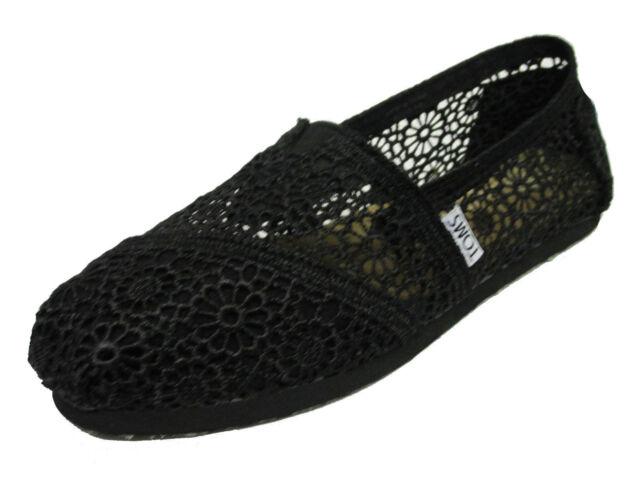 NEW TOMS WOMEN CLASSICS BLACK MOROCCO CROCHET ORIGINAL 001096B10