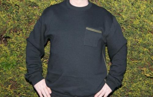 Hooded Workwear Jumper Work Top Sweatshirt Casual Sweater Mens Black Crew Neck