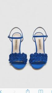 Sandals Blue Leather With Detail 6 High Bnwt Floral Zara Heel Size Swt66q