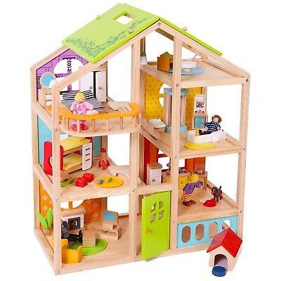 Puppenhaus komplett mit Möbeln Biegepüppchen Familie Hund Puppenstube Biegepuppe