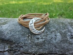 """Handmade women's """"love you to the moon and back"""" half moon tan leather bracelet"""