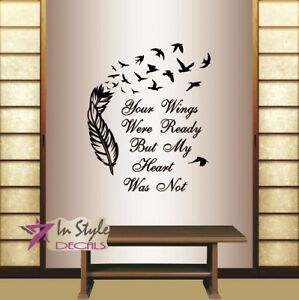 Vinyl Decal Your Wings Were Ready Quote Feather Flying Birds Wall