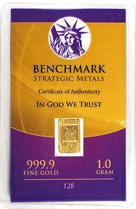 GOLD 1GRAM 24K PURE GOLD BULLION BENCHMARK ELEMENTAL BAR 999 FINE GOLD C4c