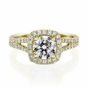 1.80 Ct Round Moissanite Engagement Bridal Ring Real 18K Yellow Gold ring Size 5