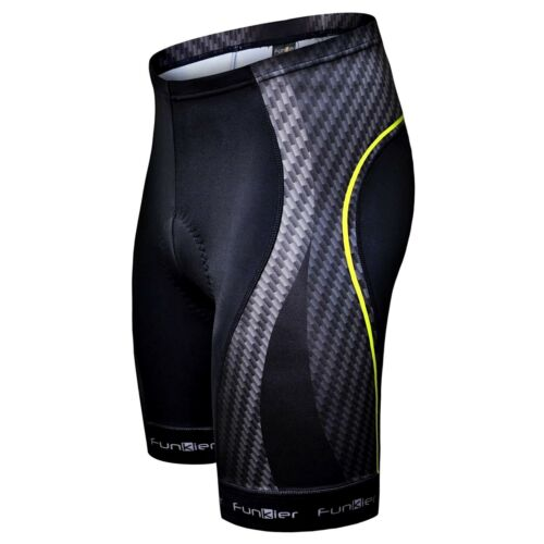 Funkier Men/'s Elite Padded Cycling Shorts S2772-E8 Black with Red or Yellow
