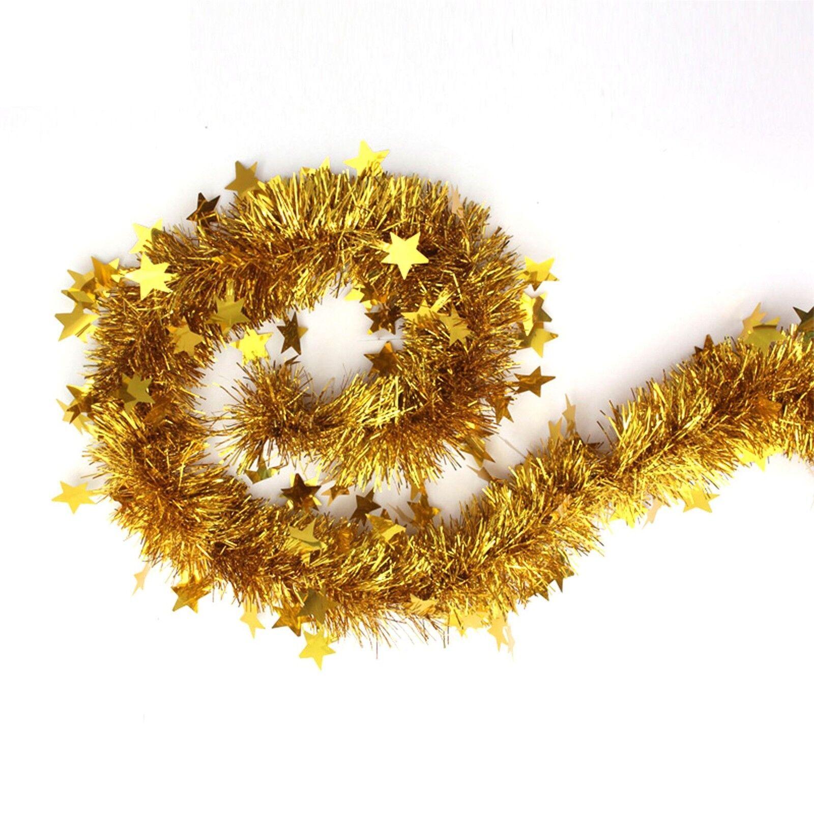 6.5FT 40mm  Star Tinsel Christmas Tree Decorations X/'mas Garland 2M