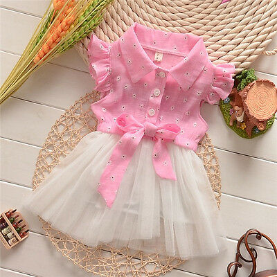 Baby Toddler Kids Girls Princess BowKnot Lace Tutu Dress Dresses 0~3Years